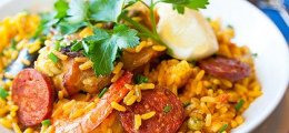 Paella con arroz integral